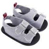 Diskon Baby Canvas Lembut Sepatu Pertama Walker Sepatu Musim Panas Sole Sandal Baru Lahir Striped Prewalker Hitam 12 Cm Intl Tiongkok