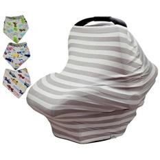 Baby Car Seat & Nursing Cover BONUS Bandana Drool Bibs & Drawstring Carry Bag Shower Hadiah Bernapas Elastis Universal 4 In 1 Multi-use Baby Carseat Kanopi Mencakup Keranjang Belanja Tinggi Chair Stroller-Intl