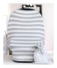 Baby Car Seat Cover Canopy   Nursing Cover (Multi-Use 4-1 Stretchy) Infinity Nursing Scarf   Grocery Shopping Cart Cover   High Chair Covers (Grey White Stripe) Unisex Baby Shower Gift - intl