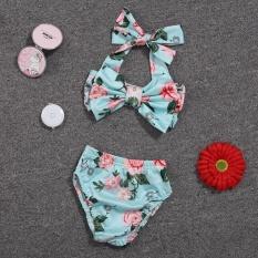 Bayi Gadis Floral Bow Halter Bikini Set Two Piece Swimsuit Ukuran: 3-6 M-Intl