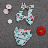 Jual Baby G*rl Floral Bow Halter B*k*n* Set Two Piece Swimsuit Size 6 12M Intl Branded Murah