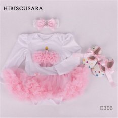 Bayi Gadis Bayi 3 Pcs Pakaian Set Baju Monyet + Headband + Shoes Natal Perapi Putri Tutu Baju Monyet Gaun/Jumpsuit Xmas BEBE Partai Birthday Costumes-Intl