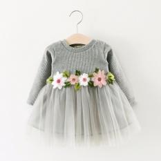 Harga Anak Perempuan Anak Perempuan Musim Gugur Musim Dingin Jaket Bomber Lengan Panjang Fashion Bunga Gaun Branded