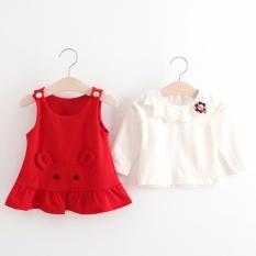 Bayi Perempuan Manis Gaun Lengan Panjang Pakaian Set (Merah)