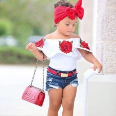 Bayi Gadis 3D Bunga T-shirt Kerut Jatuh Di Bahu Musim Panas Pantai T-shirt Tops-Intl