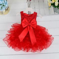 Bayi Gadis Pembaptisan Pernikahan Pesta Kontes Gaun Pertama Komuni Gaun Balita Gaun Anak Bridesmaid Dress (Merah)