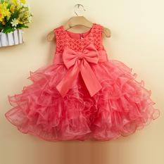 Bayi Gadis Pembaptisan Pernikahan Pesta Kontes Gaun Pertama Komuni Gaun Balita Gaun Anak Bridesmaid Anak Perempuan (merah Semangka)