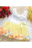 Jual Bayi Perempuan Gauze Rompi Tanpa Lengan Gaun Kerah Bulat Dengan Kelopak Bunga Berwarna Warna Warni Kuning Murah