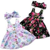 Spesifikasi Bayi Gadis Bayi Floral Gaun Balita Pesta Musim Panas Gaun Princess Headband Set Intl