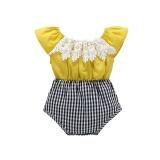 Promo Baru Bayi Gadis Summer Pure Cotton Jumpsuit Ins Hot Pencocokan Gaya Segitiga Bayi Pakaian Memanjat Kuning Intl Di Tiongkok