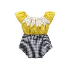 Harga Baru Bayi Gadis Summer Pure Cotton Jumpsuit Ins Hot Pencocokan Gaya Segitiga Bayi Pakaian Memanjat Kuning Intl Dan Spesifikasinya