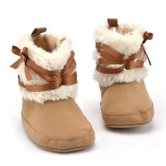 Jual Bayi Perempuan Sepatu Salju Musim Dingin Bowknot Prewalker Khaki Online Di Tiongkok