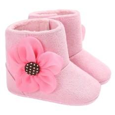 Bayi Bayi Balita Bunga Pola Lembut Bawah Musim Dingin Hangat Prewalkers Sepatu (Pink) -6-12 Bulan-Intl
