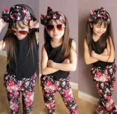 Iklan Baju Bayi Anak Perempuan Bando T Shirt Celana Bunga 3 Buah Set Pakaian
