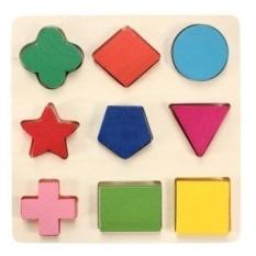 Bayi Anak-anak Permainan Jigsaw Pelat Kayu Puzzle 9 Pcs/set Belajar Multishapes Batu Bata Mainan Pendidikan-Internasional