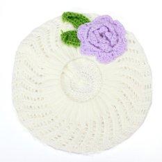 Spesifikasi Baby Rajutan Beanie Bunga Topi Balita Girls Tangan Crochet Beret Winter Hangat Cap Putih Paling Bagus