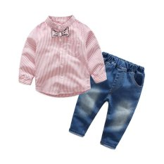 Baby Long Sleeve Tops Celana Jeans Denim Pakaian Set-Intl