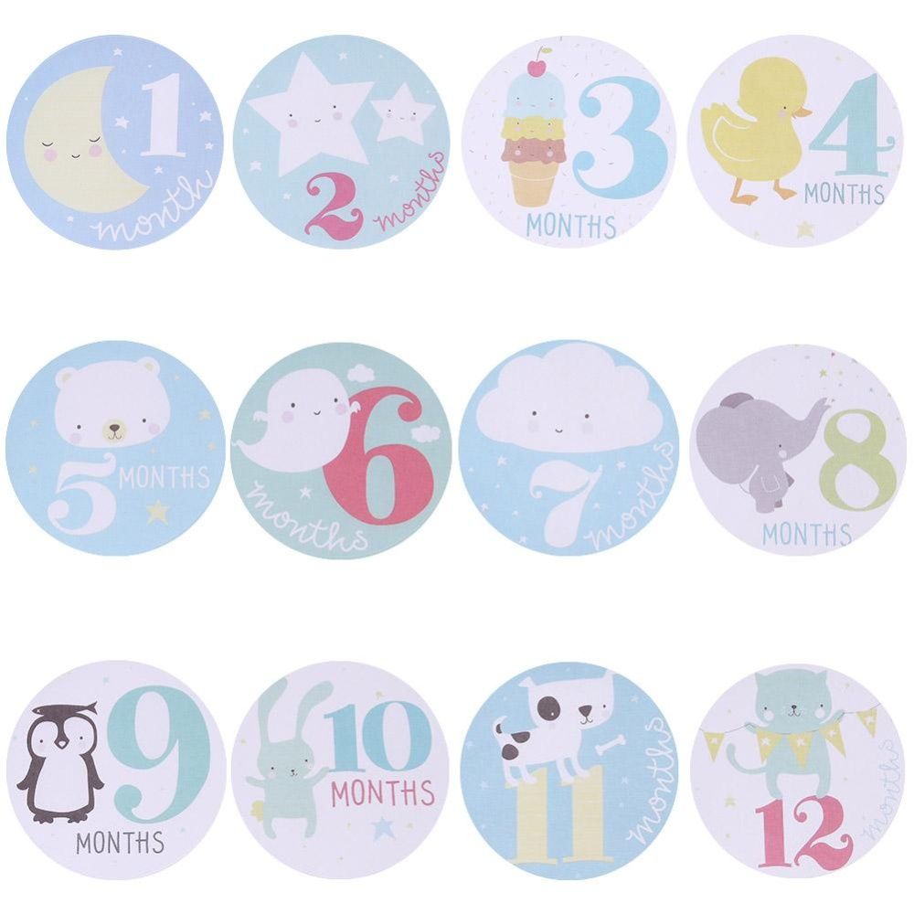 Baby Monthly Photograph Stickers Month 1-12 Milestone Stickers(Blue) - intl