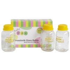 Baby Pax - Botol Kaca Asi - Isi 3 Pcs - Botol Untuk Menyimpan ASI Botol Kaca ASI BPA Free Botol Berpergian Botol Bagus Botol ASI Botol Kaca Murah Botol Susu - Alat Bantu Ibu Menyusui