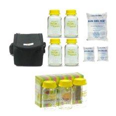Baby Pax - Bundling Cooler Bag Set Hitam (Tas Penyimpan ASI + 4 Botol Kaca ASI + 3 Ice Gel) + 3 Botol Kaca ASI