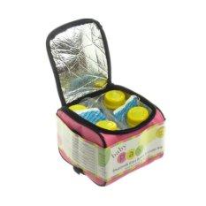 Baby Pax - Cooler Bag Set Pink (Tas Penyimpan ASI + 4 Botol Kaca ASI + 3 Ice Gel)