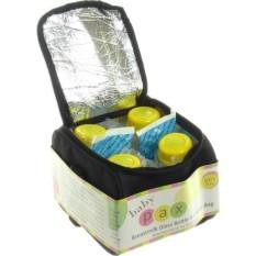 Baby Pax - Cooler Bag Set (Tas Penyimpan ASI + 4 Botol Kaca ASI + 3 Ice Gel) - Hitam