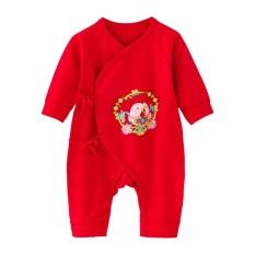 Baby Bodysuit Merah Boy Girl Happy Ayam Rompers untuk Bayi Yang Baru Lahir Jumpsuit-Intl