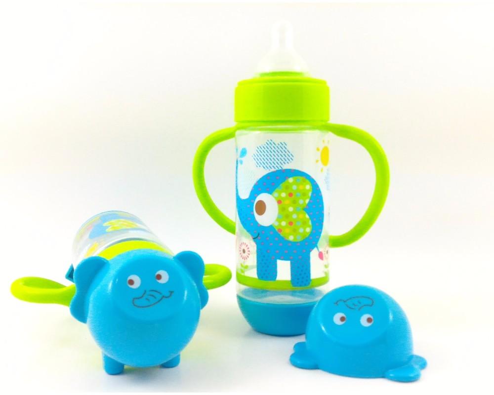 Cheapest Price Baby Safe AP004 - Wide Neck Feeding Bottle 250 ml-Botol Susu Wide Neck bertangkai [warna Biru motif gajah] sale - Hanya Rp47.944