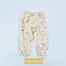 Baby Summer Thin Floral Anti-mosquito Pants Girl Home Cotton Linen Air Conditioning Pants - Dandelion