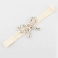Bayi Balita Bayi Crystal Bowknot Headbands Hair Band Sederhana Lembut Diamond Kain Bow Beige-Intl