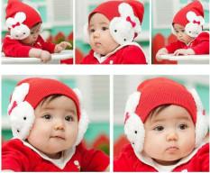 Topi Bayi Dengan Penutup Telinga Untuk Properti Foto (Merah)
