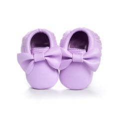 Bayi Balita Sepatu Butterfly Lembut Bawah Tassel Belajar untuk Langkah Sepatu PU Spring 0 Sampai 12 Bulan WMC7513 Ungu- INTL