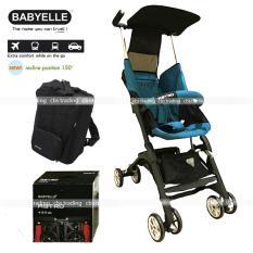 Model Babyelle Stroller S350 New Reclining Astro With Bagpack Kereta Dorong Bayi Biru Tosca Terbaru