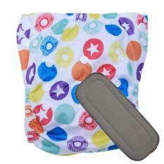 Babyland celana clodi bayi cuci ulang motif Badge untuk bayi berat 8 sampai 20 kg dengan 1 penyerap ompol Bamboo Charcoal 5 lapis
