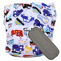 Babyland celana clodi bayi cuci ulang motif Vehicle untuk bayi berat 8 sampai 20 kg dengan 1 penyerap ompol Bamboo Charcoal 5 lapis