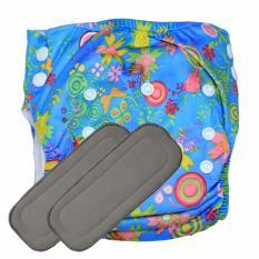 Babyland celana clodi bayi cuci ulang motif Wild Life untuk bayi berat 8 sampai 20 kg dengan 2 penyerap ompol Bamboo Charcoal 5 lapis