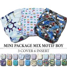 Babyland Mini Package 3 Pcs Clodi Babyland Pocket Dengan 6 Insert Microfiber 3 Ply Untuk Baby Boy By Raisa Baby Store.