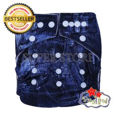 Babyland Popok Bayi Cuci Ulang Pocket Motif Jeans dengan 1 Insert Microfiber (Clodi Bayi Cloth Diapers Pampers Kain)