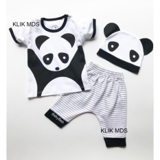 Baju Anak Setelan Atasan dan Celana Motif Karakter Panda Free Topi