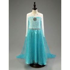 Baju dress kostum elsa frozen uk 150 utk anak 7-8 tahun