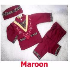 Baju Koko Bayi Setelan Baju Muslim Bayi Terlaris - Trend Wish - Maroon - S - (estimasi 6-12 Bulan)