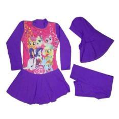 Baju Renang Anak Muslim Karakter My Little Pony - Ungu Tua Untuk Umur 5-10 Tahun