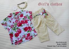 Baju Setelan Anak Perempuan Lucu Bunga Bunga Umur 5 Tahun Import Murah