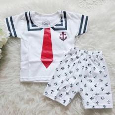 Baju setelan set kaos anak sailor putih  1, 2 ,3 tahun