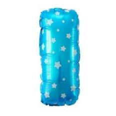 Balon Foil Huruf I Biru Motif Bintang