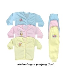BAYIe - 3 SET Setelan Baju Bayi Lengan Panjang + Celana Panjang Warna LILY umur 0-6 bulan/celana santai/celana rumah/anak laki-laki/anak perempuan
