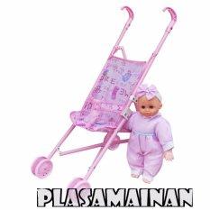 BB Mart  Mainan Stroller boneka roda 4 Plus Boneka Pink - Stroller Boneka Mainan