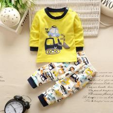 Bear Fashion Baby Boy Kids Clothes Digging Machine Excavating machinery Long-Sleeved T-shirt + Pant Set - intl