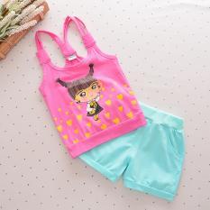 Cara Beli Bear Fashion Bayi Indah Heart Girls Pakaian Anak Pakaian Musim Panas 2 Pcs Set Intl