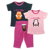 Harga Bearhug 3 Pieces Sets Bayi Perempuan 12 24M Owl Coffee Biru Dongker Pink Original